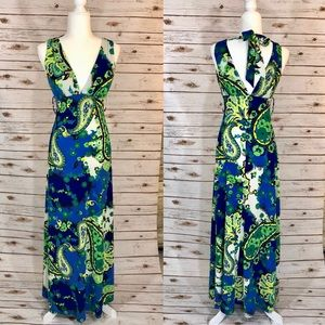 XOXO Junior Halter V-neck Maxi Dress Blue Green S